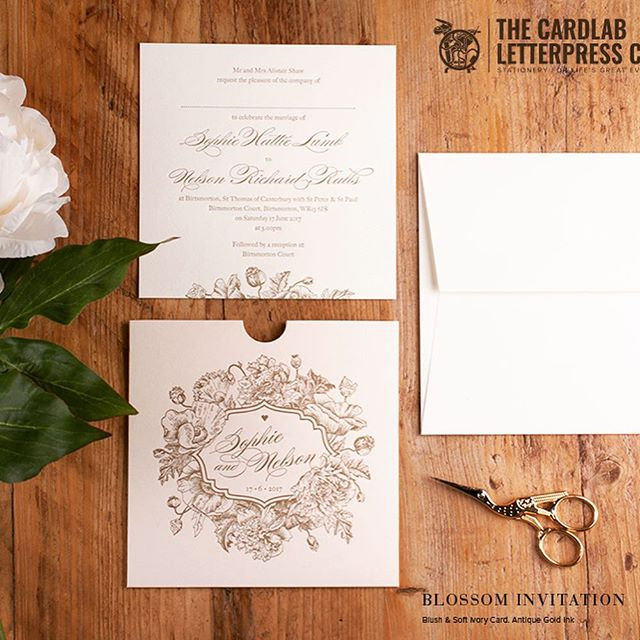Pretty floral inspired invitations, perfect for a romantic wedding 💕  Created with blush pink card and antique gold letterpress Ink  #weddingideas #weddinginvitations #weddinginvites #floralwedding #ruralwedding #woodlandwedding #blushweddinginvitations #blushweddinginspiration #weddingideas #weddinginspiration