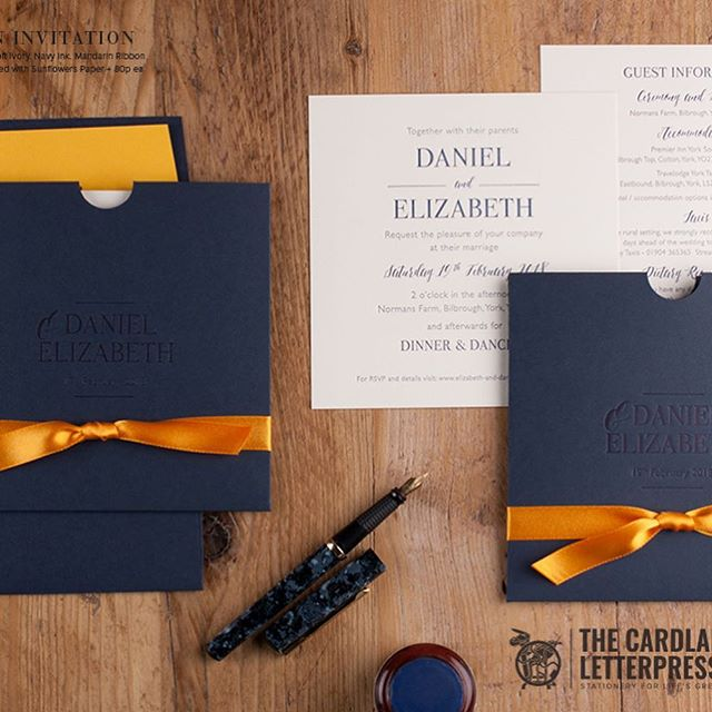 Modern Navy and sunflower yellow inspired wedding invitation. Personalised pocket to keep invite, info sheet and RSVP card together  #weddinginvitations #weddinginspiration #weddinginvitation #navywedding #yellowweddinginvitation #navyweddinginvitation #letterpress #cardlabletterpress