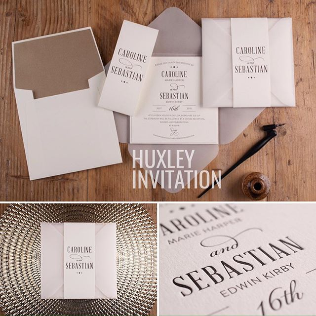Huxley Invitation - New for 2017 The translucent wallet and personalised wrap open to reveal your invitation.  #cardlabletterpress #luxuryinvitations #2017wedding #wedding #weddinginvitations #weddingstationery