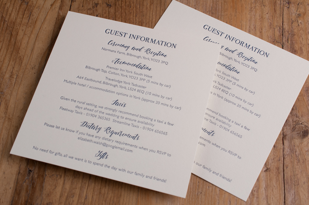 Information Cards - The perfect place to include those extra details such as, Gift List Details, Local Taxi & Accommodation Recommendations, Maps & Directions or an itinerary for the day.