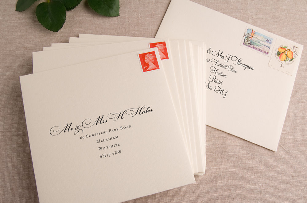 Envelope Addressing - We can print your guest names & addresses on the invitation envelopes.