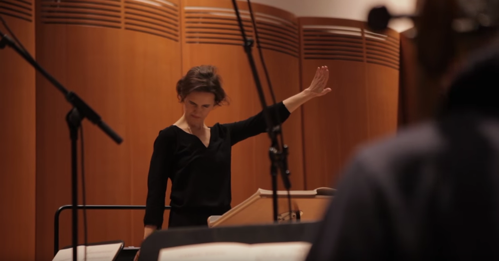 "conductor oksana lyniv says ""not like this my dear bavarians..."" during recording session of ""carmina burana"" in munich"