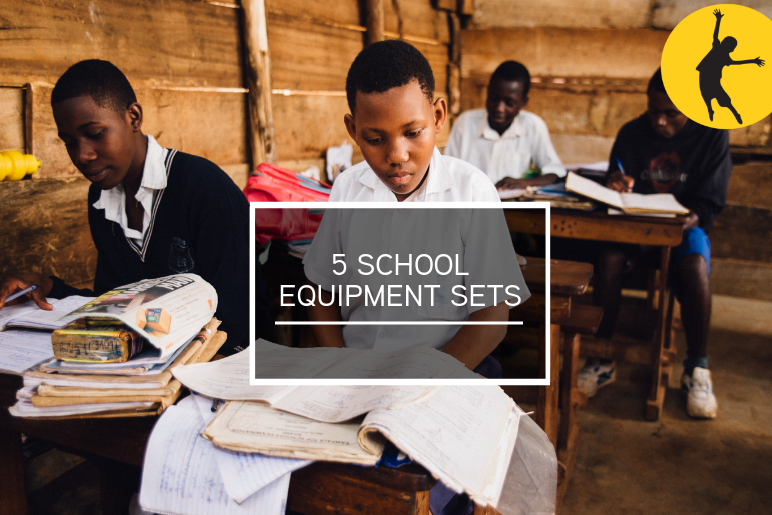 *5 school equipment sets*   Providing a child with exercise books, pens and pencils makes a huge difference to children who could not participate in school without these basic materials.