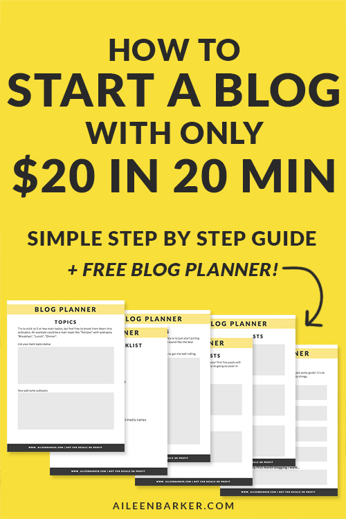 How to start a blog with just $20 in 20 minutes! Starting a blog doesn't have to be hard, or expensive. Plus, a free blog planner for new bloggers that will help you plan the beginning of your blogging journey!