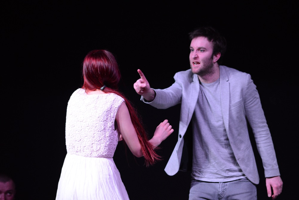 Hamlet confronts Ophelia (OOC Actor Christie) in  Disturbing Shakespeare