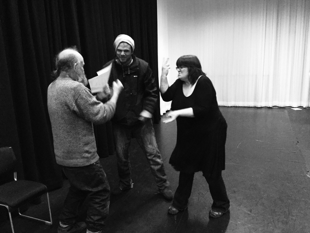 Three actors from In The Moment create responses to ideas using scripts and improvisation