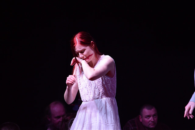 A dramatic moment from 'Disturbing Shakespeare'. Ophelia's heart and mind is broken...