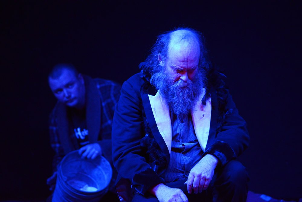 Laurie as King Lear weathered by his internal storms in  Disturbing Shakespeare