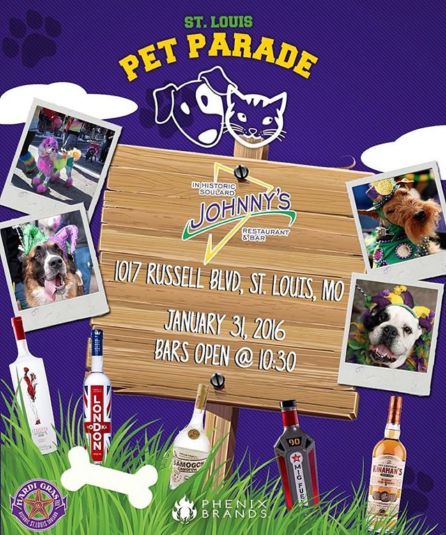Come by #johnnysinsoulard and warm up with some @SamogonRevolution #Cider, @LondonVodka Spicy #bloodymary, @migfuel shots and much more starting at 1030am this Sunday January 31! #dogparade #dogs #pets #parade #mardigras