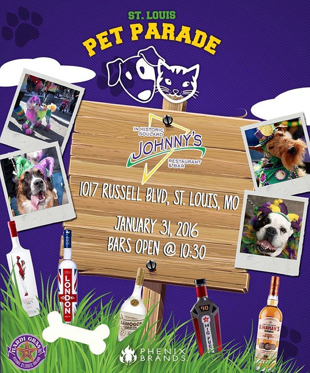 Come by #johnnysinsoulard TODAY and warm up with some @SamogonRevolution #Cider, @LondonVodka Spicy #bloodymary, @migfuel shots and much more starting at 1030am! #dogparade #dogs #pets #parade #mardigras #saintlouis #petparade