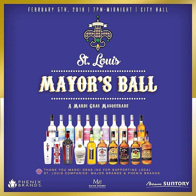 We are happy to announce that we are the Exclusive Spirit Sponsor along side @beamsuntory @majorbrands at this year's #MayorsBall presented by @stlmardigras and #FrancisSlay. We are thankful to be a part of such a major event in St. Louis and help support the efforts of #MayorSlay. Tickets available at stlmardigras.org. Come enjoy all products like @migfuel @jimbeam @stilettovodka @cruzanrum @londonvodka @2gingers @samogonrevolution& more! THANK YOU @stlmardigras Mardi Gras Inc For Supporting #LOCAL companies like Major Brands & Phenix Brands! #mardigras2016 #mardigrasSTL #jimbeam #phenixbrands #majorbrands #2gingers #vodka #whiskey #whisky #soulard #rum #hurricanes #cocktails #2016 #mayorsball
