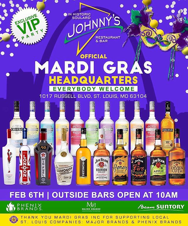 TOMORROW The Official Headquarters for #MardiGras in #StLouis this year is at #johnnysinsoulard brought to you by @phenixbrands / @beamsuntory / @majorbrandsmo —Everyone is Welcome to Come #Celebrate with us!  There will also be an #Exclusive #VIP #Party going on the top floor! Come enjoy all products like @migfuel @jimbeam @stilettovodka @cruzanrum @londonvodka @2gingers @samogonrevolution& more! THANK YOU @stlmardigras Mardi Gras Inc For Supporting #LOCAL companies like Major Brands & Phenix Brands! #mardigras2016 #mardigrasSTL #jimbeam #phenixbrands #majorbrands #2gingers #vodka #whiskey #whisky #soulard #rum #hurricanes #cocktails #2016 #beads @mardigrasworld