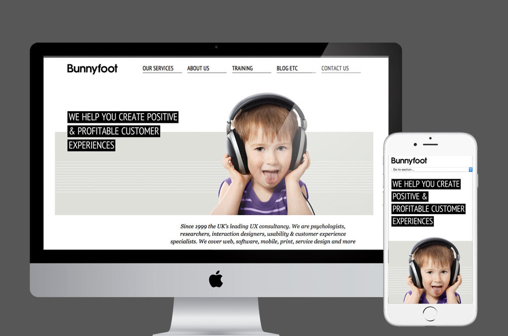 RESPONSIVE WEBSITE FOR BUNNYFOOT