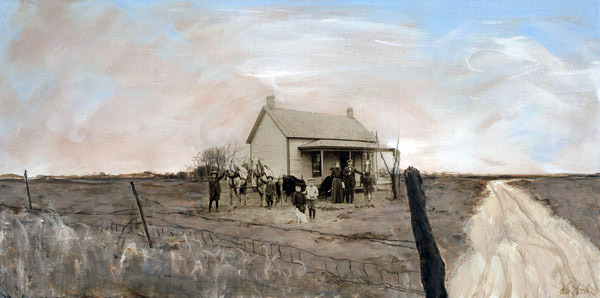 Lu Steed Homestead On The Plains, Circa 1900 mixed media on canvas 36 x 18 inches (SOLD)