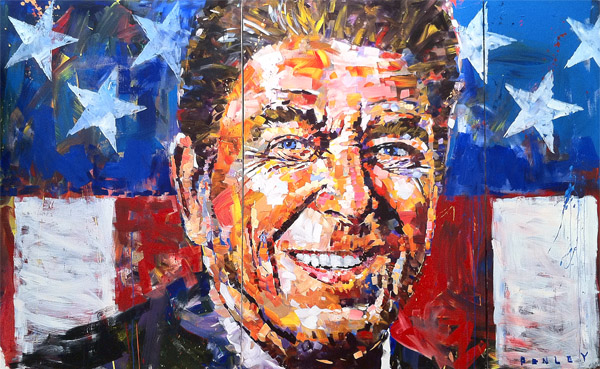 Steve Penley Reagan (Triptych) acrylic on canvas 120 x 72 inches