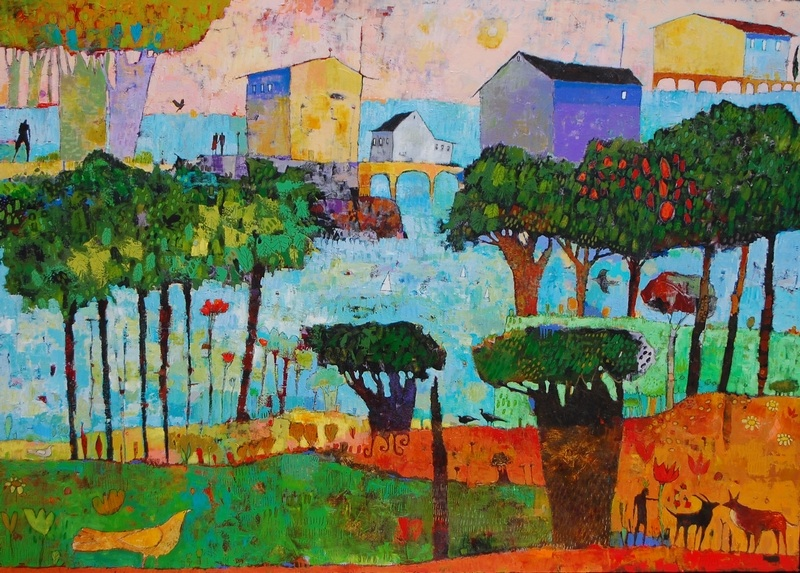 Jane Filer  Sea Village  acrylic on canvas 62 x 86 inches