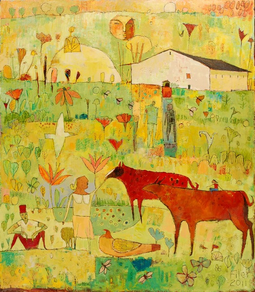 Jane Filer Resting in the Pasture acrylic on canvas 48 x 42 inches