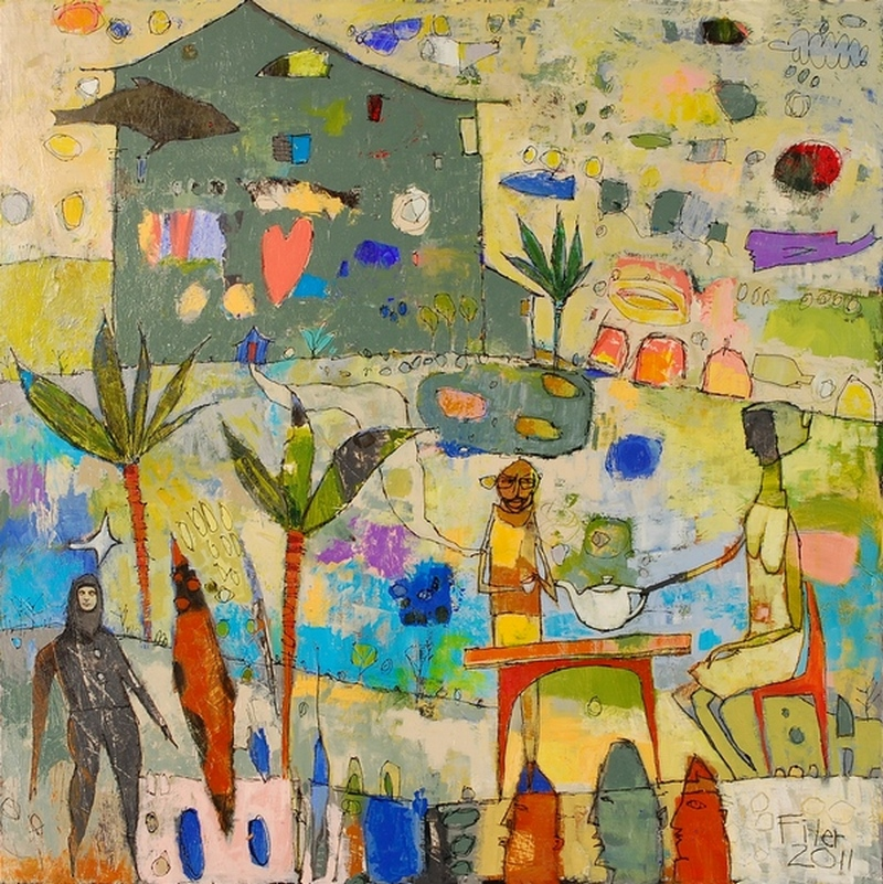 Jane Filer Tropical Tea acrylic on canvas 38 x 38 inches