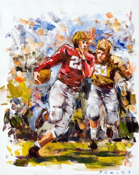 "Steve Penley  Lamar ""Racehorse"" Davis 1941 – Georgia vs. Auburn  acrylic on paper 20x16 inches"