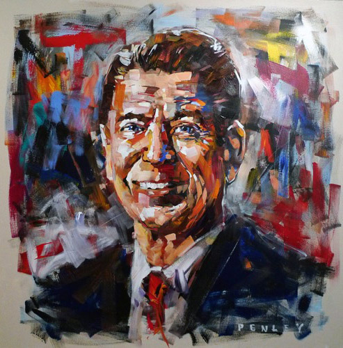 Steve Penley   Reagan   acrylic on canvas  60 x 60 inches