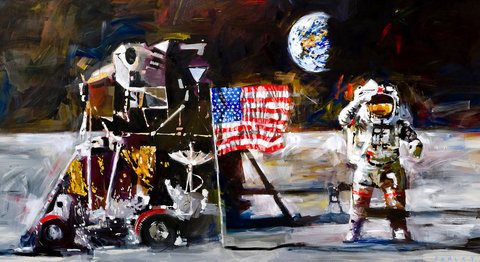 Steve Penley Moon Landing giclee print & acrylic on paper    22 x 40 inches unframed  |  edition of 85