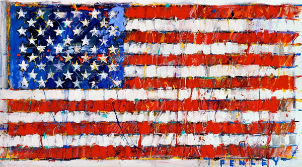 Steve Penley  American Flag  giclee print & acrylic on paper    16 x 27 inches unframed  |  edition of 50  18 x 32 inches unframed  |  edition of 65