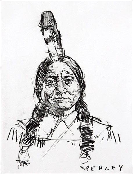 Steve Penley   Sitting Bull  charcoal on paper 22 x 30 inches unframed  30 x 40 inches framed  3800. framed