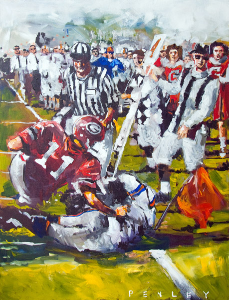 Steve Penley   Bobby Etter Georgia vs. Florida, 1964  acrylic on canvas 30 x 40 inches   8500.