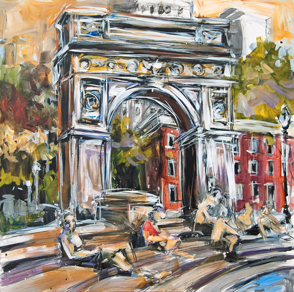 Steve Penley   Washington Square Park  acrylic on wood panel 24 x 24 inches   (SOLD)
