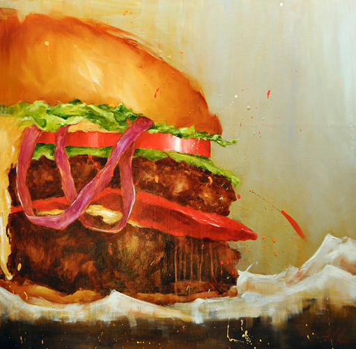 Scott French   Mighty Mouthful  oil on panel 24 x 24 inches
