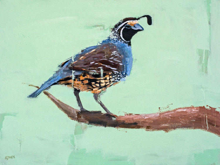Quail<br>acrylic on canvas<br>48 x 36 inches