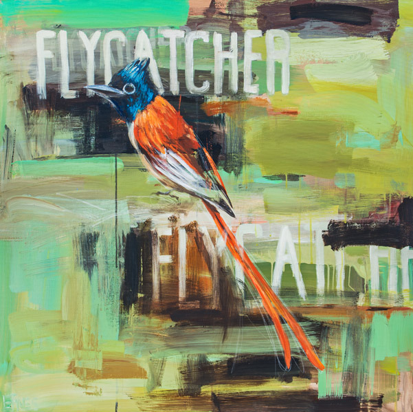 Fly Catcher<br>acrylic on canvas<br>36 x 36 inches