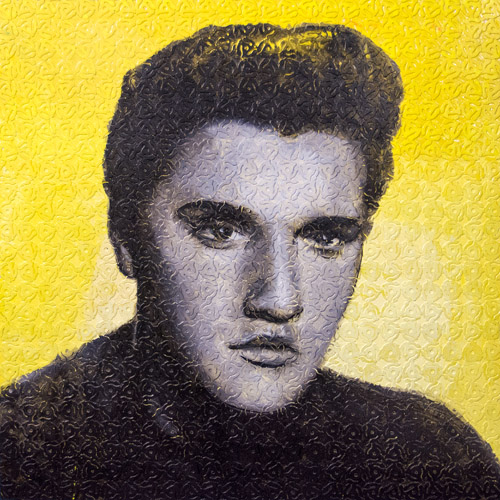 Elvis 45<br>oil & plastic 45 rpm converters on panel<br>36 x 36 inches