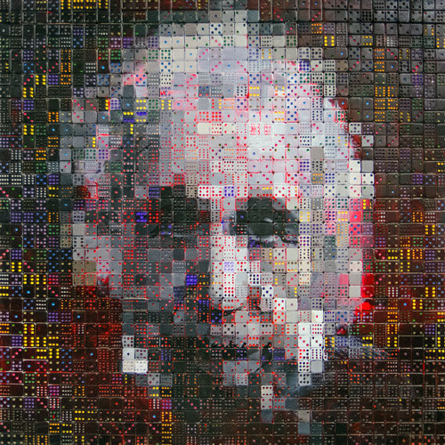 Domino Einstein<br>oil & dominoes on panel<br>36 x 36 inches