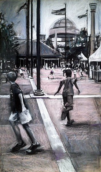 Susan Grossman  Centennial Olympic Park   charcoal on paper image: 33 x 57 inches  framed: 42 x 65 inches