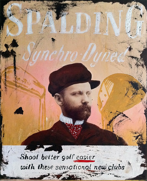 Spalding<br>acrylic & collage on canvas<br>30 x 24 inches