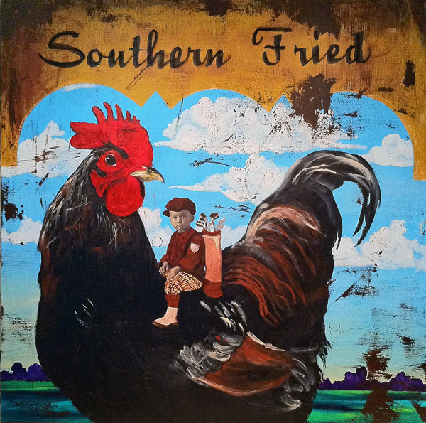 Southern Fried Caddy<br>acrylic & collage on canvas<br>48 x 48 inches