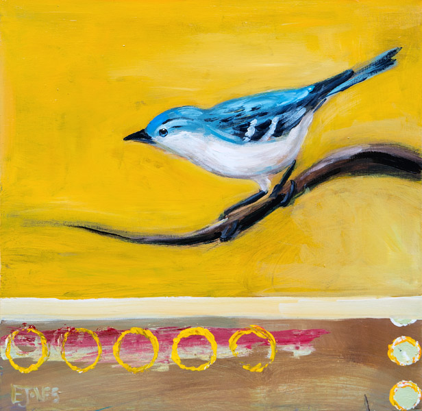 Evan Jones   Warbler I  acrylic on canvas 18 x 18 inches (SOLD)