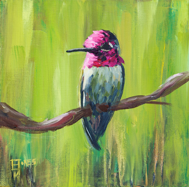 Hummingbird On Green<br>acrylic on canvas<br>18 x 18 inches