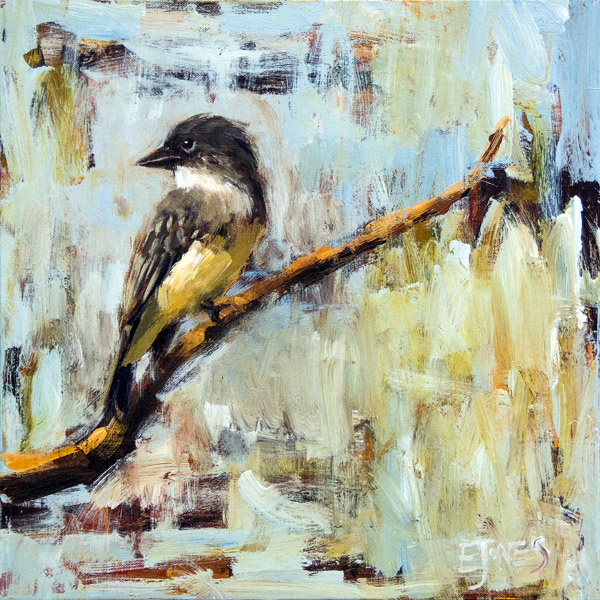 Evan Jones   Eastern Phoebe  acrylic on canvas 18 x 18 inches (SOLD)