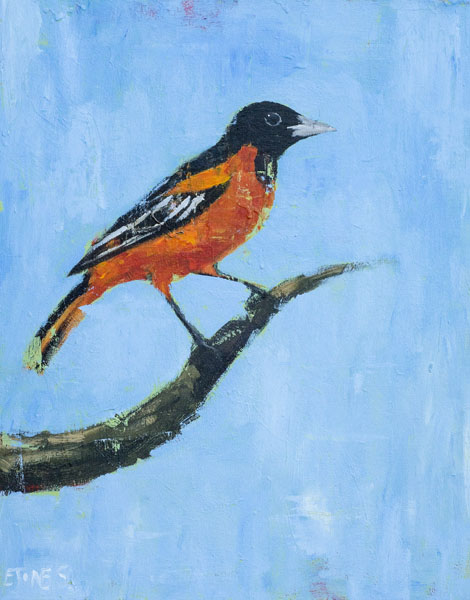 Oriole on Blue<br>acrylic on canvas<br>22 x 28 inches