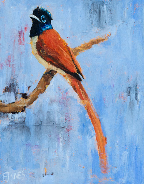 Bird On Blue<br>acrylic on canvas<br>22 x 28 inches