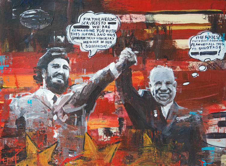 Kruschev's Sabotage<br>acrylic & collage on canvas<br>40 x 30 inches
