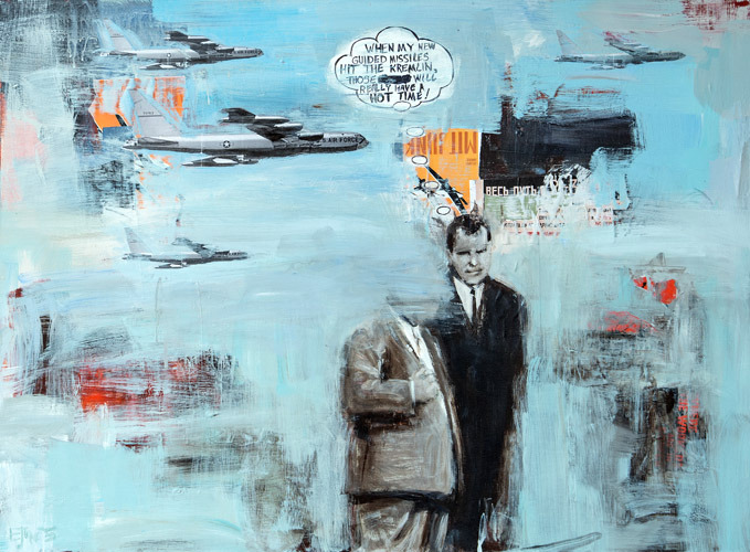 Nixon Imagines Defeating the<br> ​Soviets and Becoming a Hero<br>acrylic & collage on canvas<br>40 x 30 inches