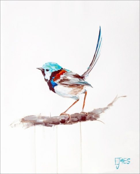 Fairy Wren<br>acrylic on paper<br>20 x 24 inches