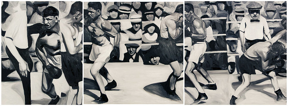Guernica Triptych<br>oil on panels<br>135 x 45 inches