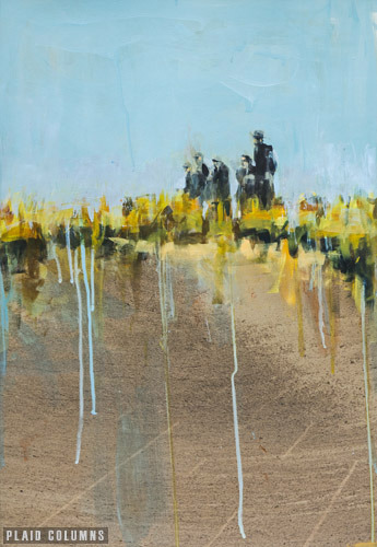 PLAID COLUMNS    Whistling Straits  mixed media on paper 30 x 20 inches unframed 40 x 30 inches framed $2500 framed