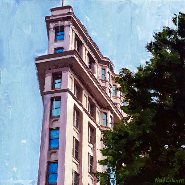 The Flatiron<BR>Atlanta, GA<BR>mixed media on panel<BR>22 x 22 inches