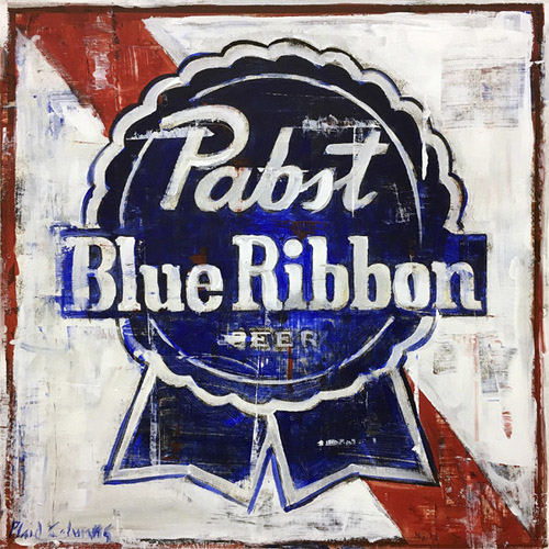 PBR<BR>mixed media on panel<BR>19 x 19 inches