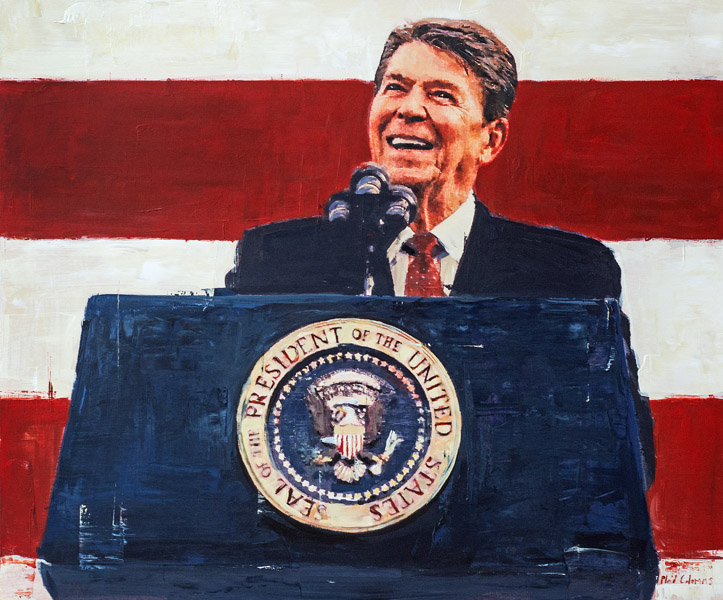 Reagan<BR>mixed media on panel<BR>30 x 36 inches